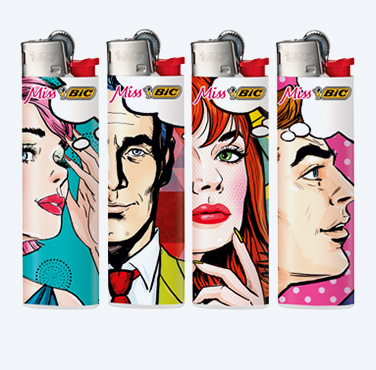 BIC SLIM REIBRAD FEUERZEUG: POP ART FACES